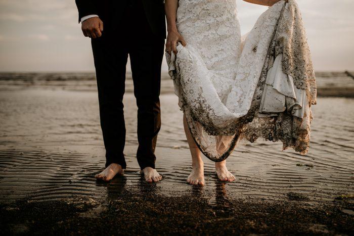 barefoot couple on the beach