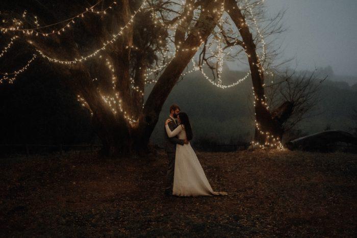 twinkle lights wedding couple