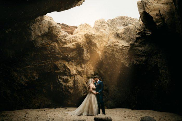 wedding couple in cave skylight