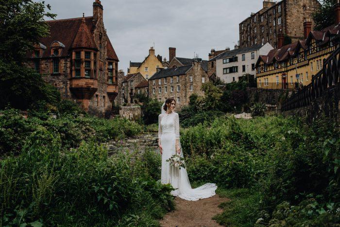 colorful bridal portait in Ediburgh Scotland