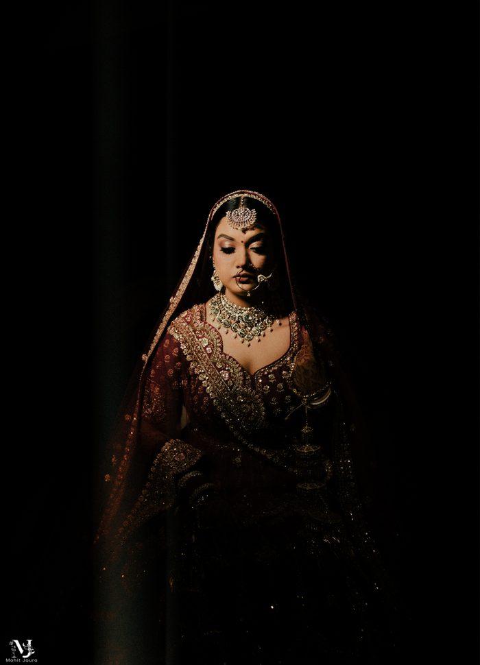 dramatic South Asian bridal portrait
