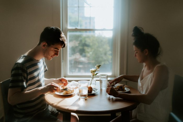 couple at the dining table in the morning create for yourself
